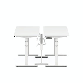 "Series L Desk for 2 + Boom Power Rail, White, 57"", White Legs,White,hi-res"