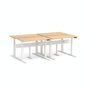 Series L Desk for 4 + Boom Power Rail, White Legs