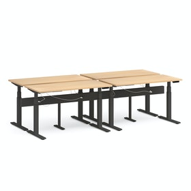 "Series L Desk for 4 + Boom Power Rail, Natural Oak, 57"", Charcoal Legs"
