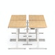 "Series L Desk for 4 + Boom Power Rail, Natural Oak, 57"", White Legs,Natural Oak,hi-res"