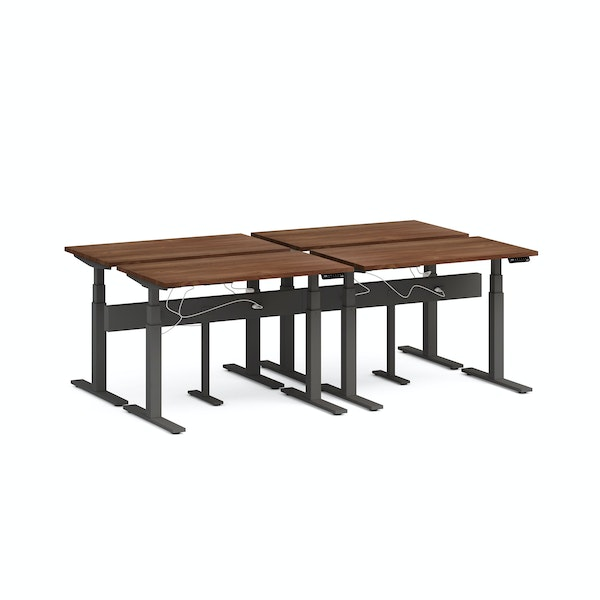"Series L Desk for 4 + Boom Power Rail, Walnut, 47"", Charcoal Legs,Walnut,hi-res"