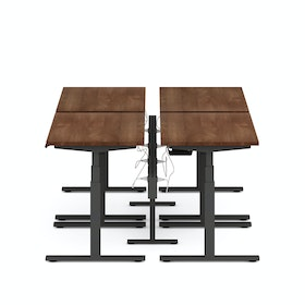 Series L Desk for 4 + Boom Power Rail, Charcoal Legs