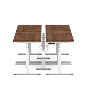 "Series L Desk for 4 + Boom Power Rail, Walnut, 47"", White Legs"