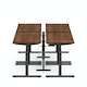 "Series L Desk for 4 + Boom Power Rail, Walnut, 57"", Charcoal Legs,Walnut,hi-res"