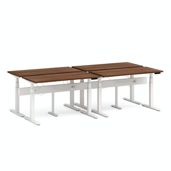 "Series L Desk for 4 + Boom Power Rail, Walnut, 57"", White Legs,Walnut,hi-res"