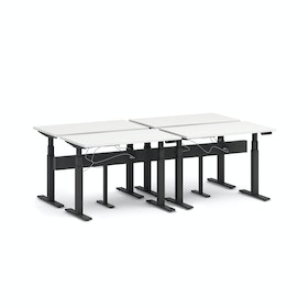 "Series L Desk for 4 + Boom Power Rail, White, 47"", Charcoal Legs,White,hi-res"