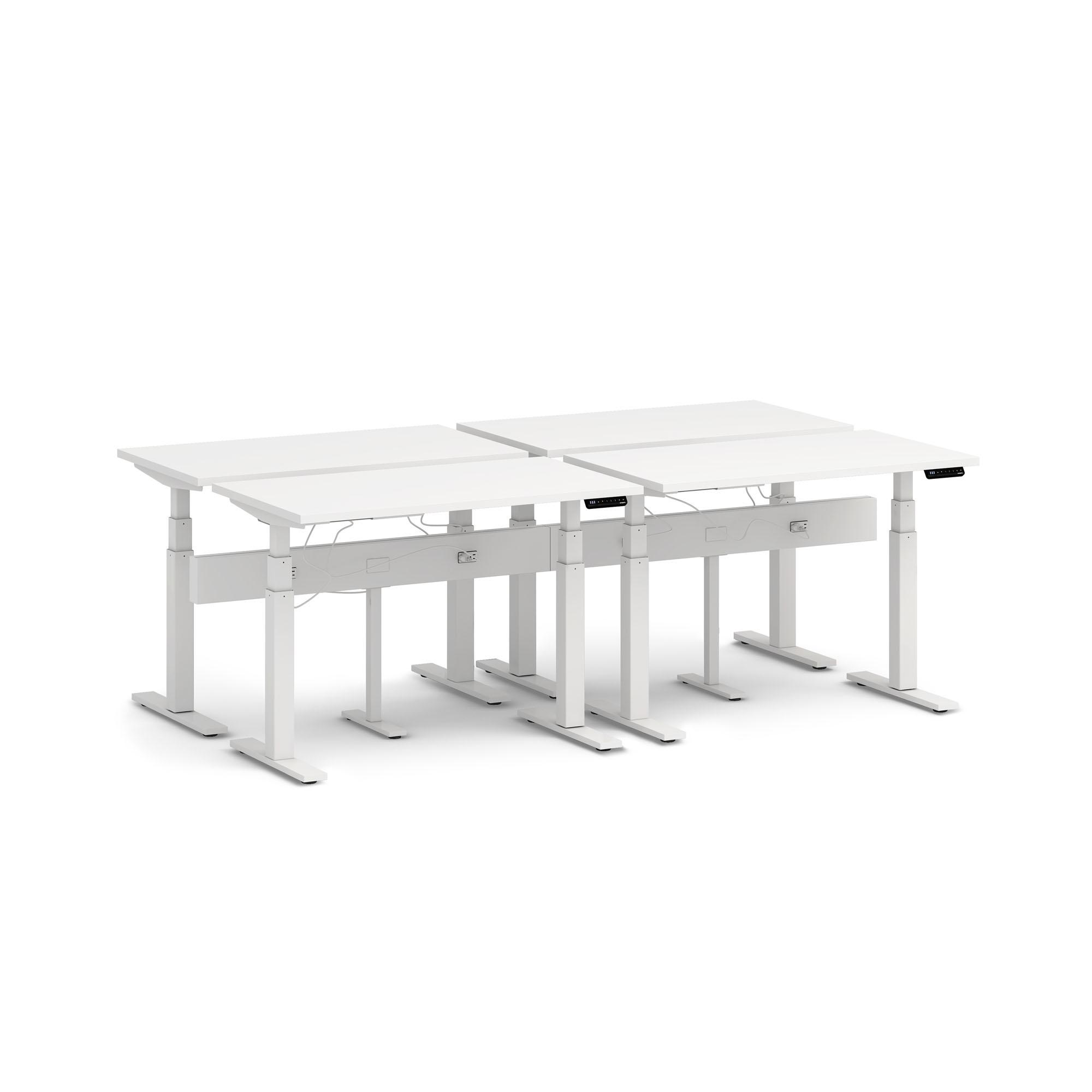 Series L Desk For 4 Boom Power Rail White Legs Poppin