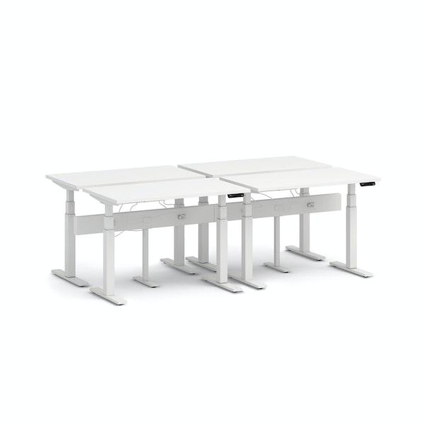 """Series L Desk for 4 + Boom Power Rail, White, 47"""", White Legs,White,hi-res"""