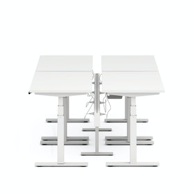 "Series L Desk for 4 + Boom Power Rail, White, 47"", White Legs,White,hi-res"
