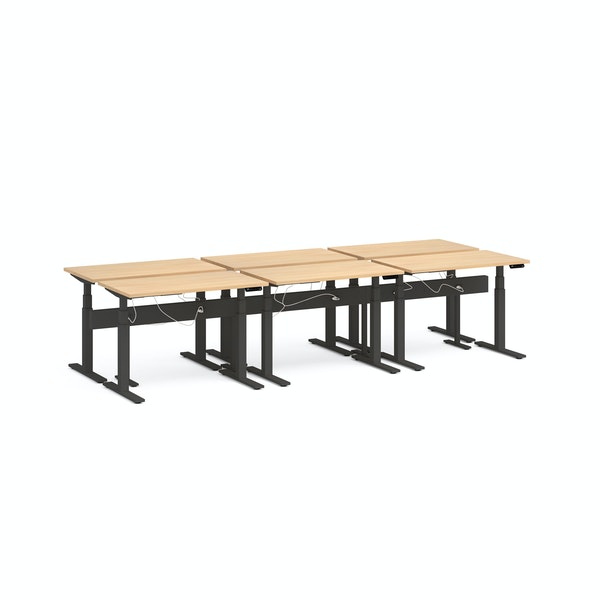 "Series L Desk for 6 + Boom Power Rail, Natural Oak, 47"", Charcoal Legs,Natural Oak,hi-res"
