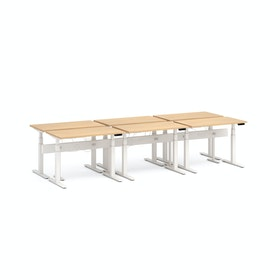 "Series L Desk for 6 + Boom Power Rail, Natural Oak, 47"", White Legs"