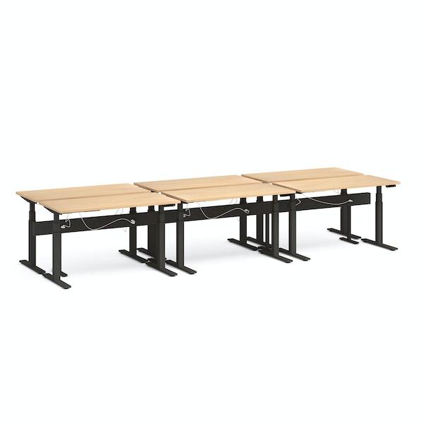 "Series L Desk for 6 + Boom Power Rail, Natural Oak, 57"", Charcoal Legs,Natural Oak,hi-res"