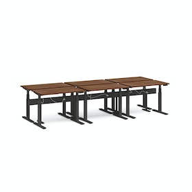 "Series L Desk for 6 + Boom Power Rail, Walnut, 47"", Charcoal Legs"