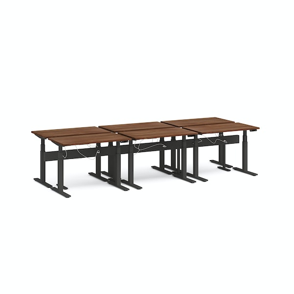 "Series L Desk for 6 + Boom Power Rail, Walnut, 47"", Charcoal Legs,Walnut,hi-res"
