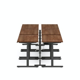 Series L Desk for 6 + Boom Power Rail, Charcoal Legs