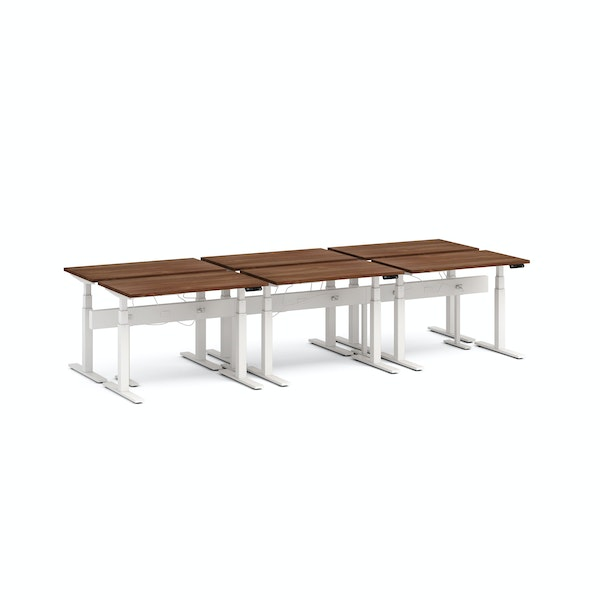 "Series L Desk for 6 + Boom Power Rail, Walnut, 47"", White Legs,Walnut,hi-res"