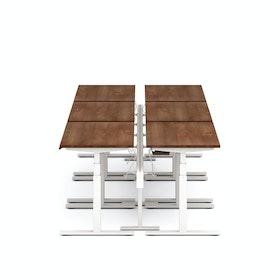 "Series L Desk for 6 + Boom Power Rail, Walnut, 47"", White Legs"