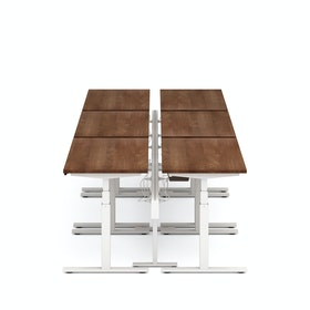 "Series L Desk for 6 + Boom Power Rail, Walnut, 57"", White Legs"