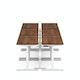 "Series L Desk for 6 + Boom Power Rail, Walnut, 57"", White Legs,Walnut,hi-res"