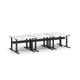 "Series L Desk for 6 + Boom Power Rail, White, 47"", Charcoal Legs,White,hi-res"