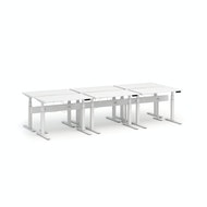 Series L Desk for 6 + Boom Power Rail, White Legs,,hi-res