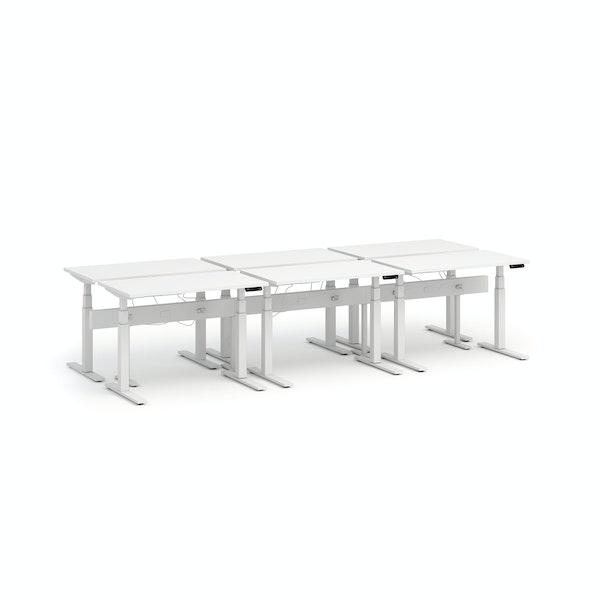 """Series L Desk for 6 + Boom Power Rail, White, 47"""", White Legs,White,hi-res"""