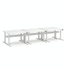 "Series L Desk for 6 + Boom Power Rail, White, 57"", White Legs,White,hi-res"