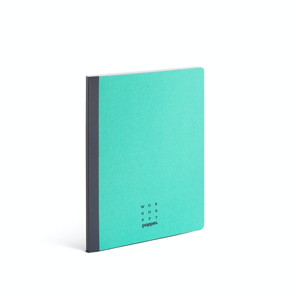 Turquoise Work Happy Medium Bound Notebook,Turquoise,hi-res