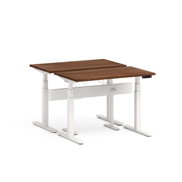 "Series L Desk for 2 + Boom Power Rail, Walnut, 47"", White Legs,Walnut,hi-res"