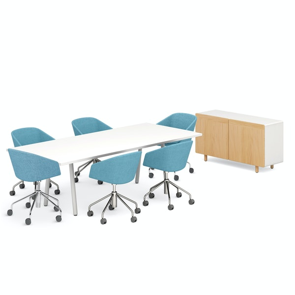 """Series A 96"""" Conference Table, Blue Pitch Meeting Chairs, Natural Ash Cleo Credenza,Blue,hi-res"""