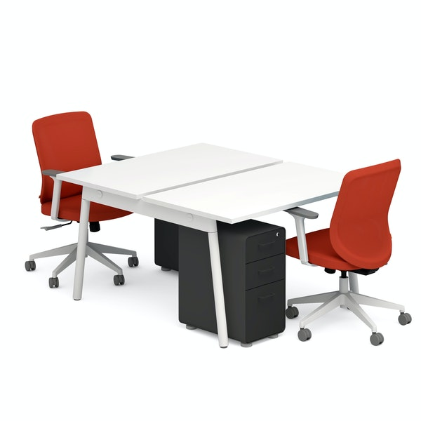 """Series A 47"""" Double Desk for 2, Brick Max Task Chair, Black Slim Stow File Cabinet,Brick,hi-res"""