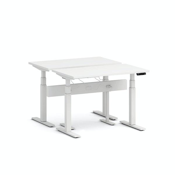 """Series L Desk for 2 + Boom Power Rail, White, 47"""", White Legs,White,hi-res"""