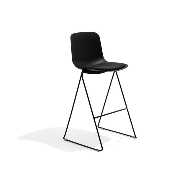 Black Key Stool, Set of 2, with Charcoal Seat Pad,Black,hi-res