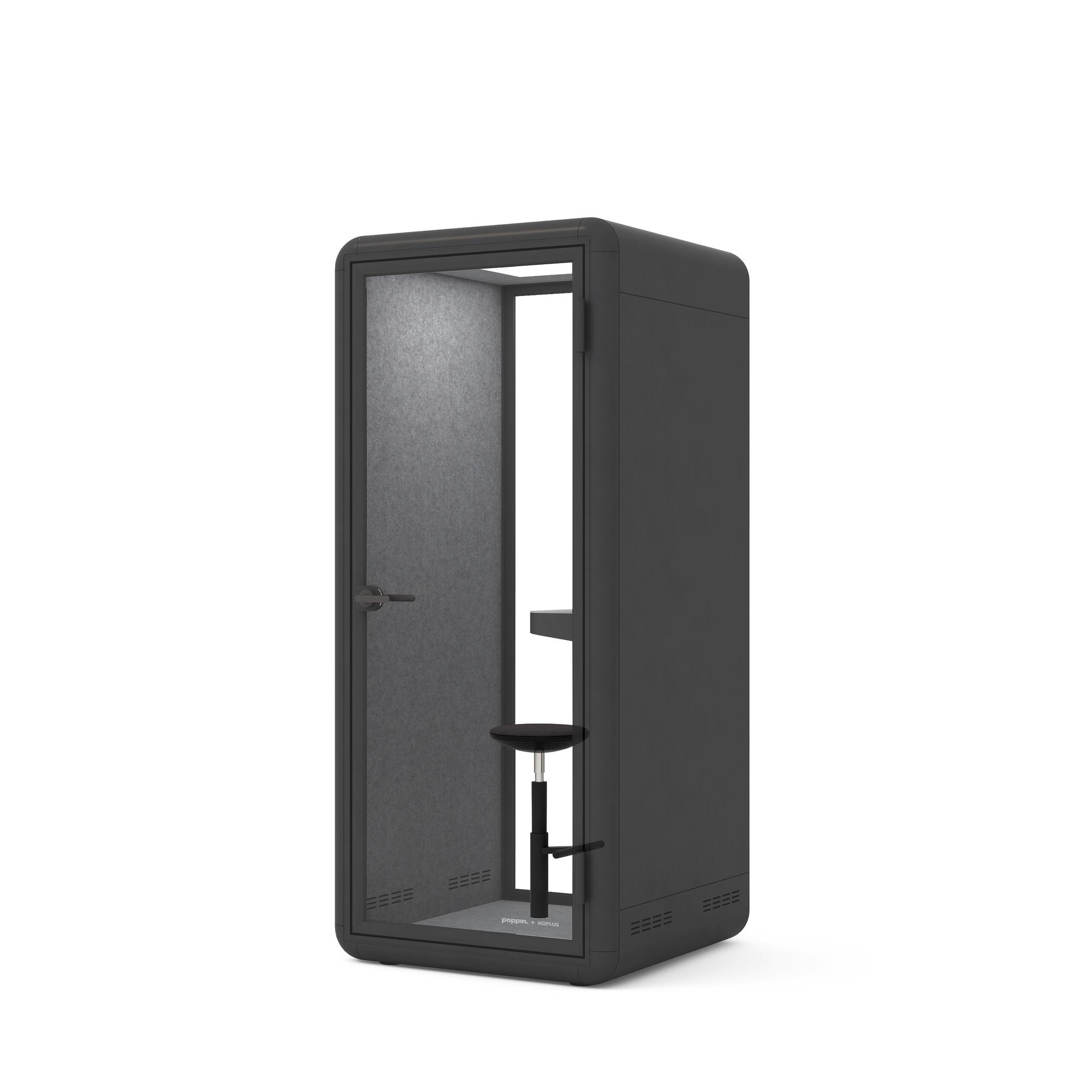Groovy Black Poppinpod Kolo 1 With Stool Modern Office Phone Booth Poppin Frankydiablos Diy Chair Ideas Frankydiabloscom