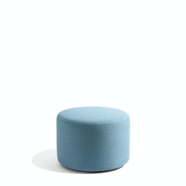 "Blue Block Party Lounge Round Ottoman, 24"",Blue,hi-res"
