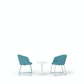 Blue Pitch Sled Chairs + Tucker Side Table Set