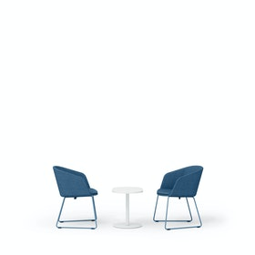 Dark Blue Pitch Sled Chairs + Tucker Side Table Set