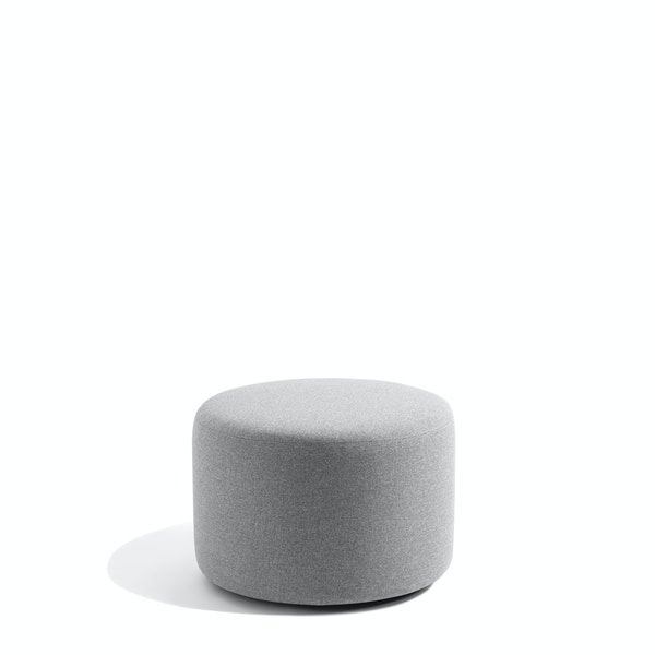 "Gray Block Party Lounge Round Ottoman, 24"",Gray,hi-res"