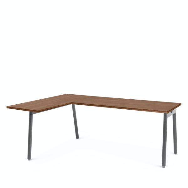 Series A Corner Desk, Walnut with Charcoal Base, Left Handed,Walnut,hi-res