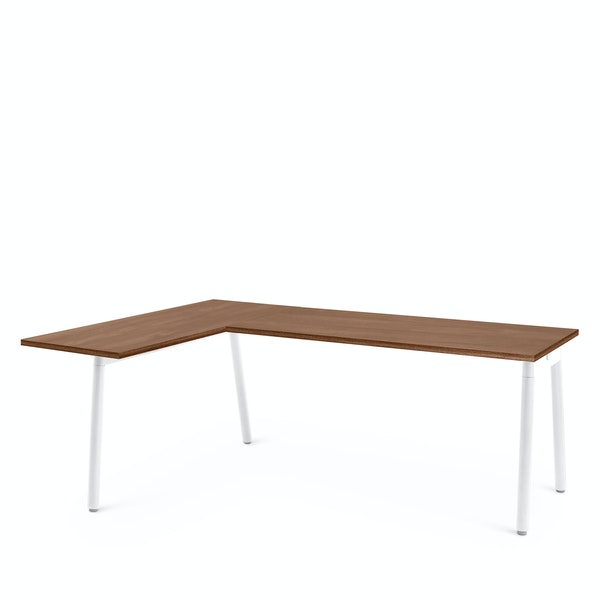 Series A Corner Desk, Walnut with White Base, Left Handed,Walnut,hi-res