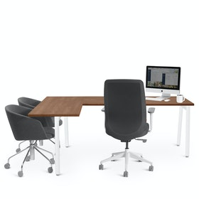 Series A Corner Desk with White Legs, Left Handed