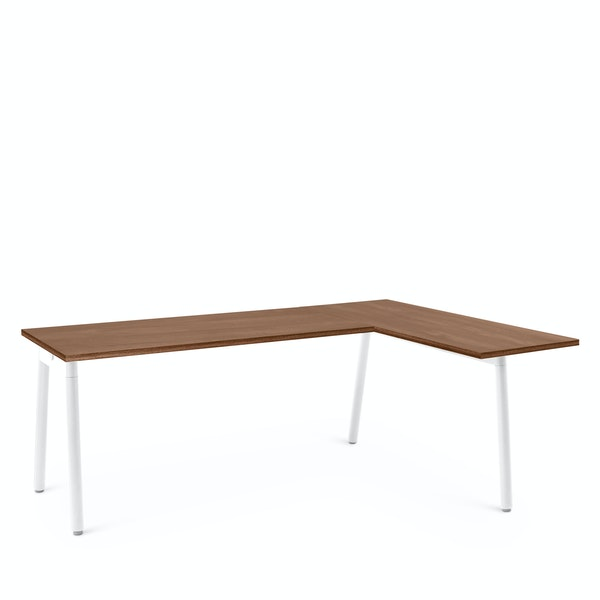Series A Corner Desk, Walnut with White Base, Right Handed,Walnut,hi-res