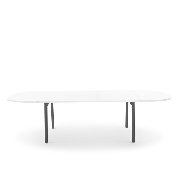 "Series A Scale Racetrack Conference Table, White, 114x60"", Charcoal Legs,White,hi-res"