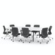 """Series A Scale Racetrack Conference Table, White, 114x60"""", Charcoal Legs,White,hi-res"""