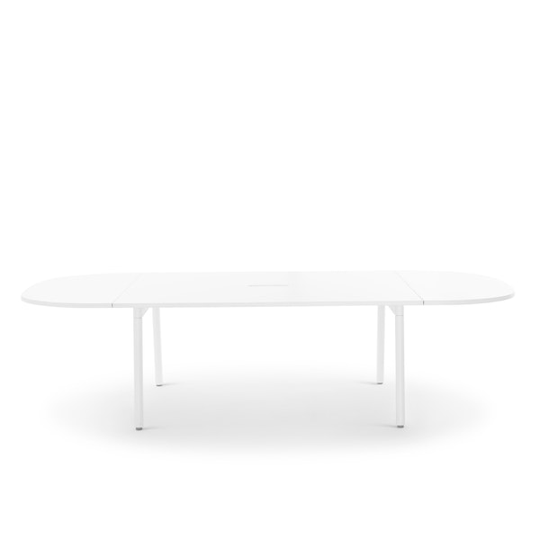 """Series A Scale Racetrack Conference Table, White, 114x60"""", White Legs,White,hi-res"""