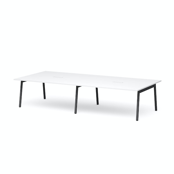 """Series A Scale Rectangular Conference Table, White, 132x60"""", Charcoal Legs,White,hi-res"""