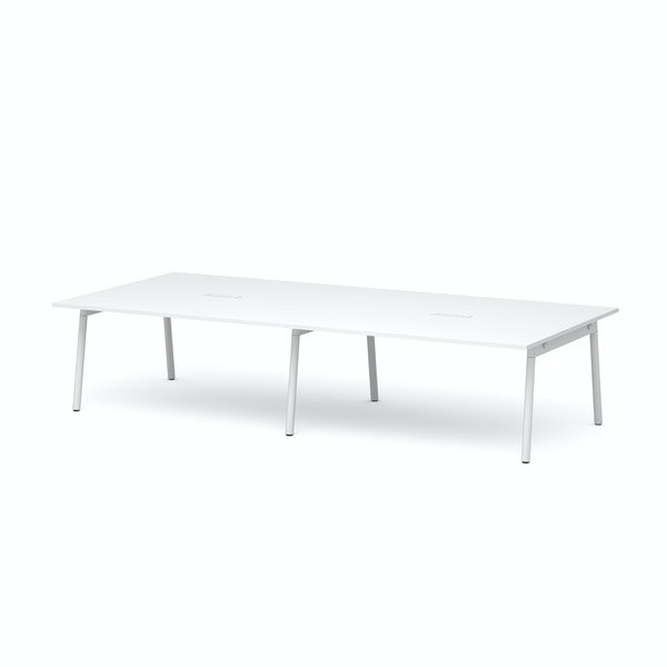 """Series A Scale Rectangular Conference Table, White, 132x60"""", White Legs,White,hi-res"""