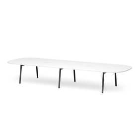 "Series A Scale Racetrack Conference Table, White, 180x60"", Charcoal Legs"