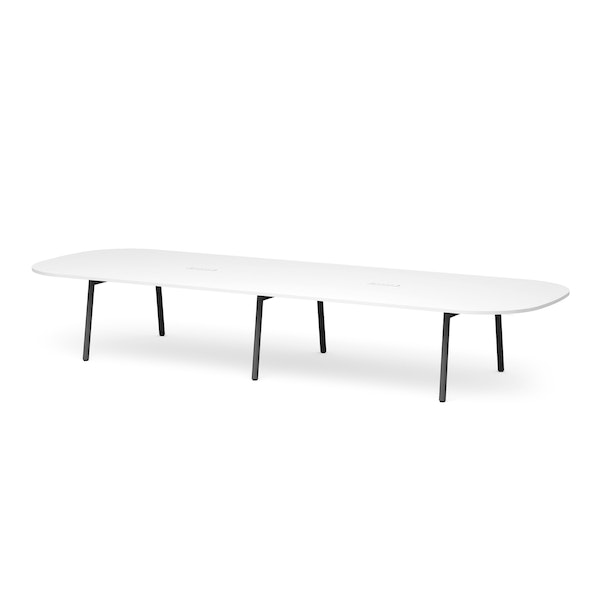 """Series A Scale Racetrack Conference Table, White, 180x60"""", Charcoal Legs,White,hi-res"""