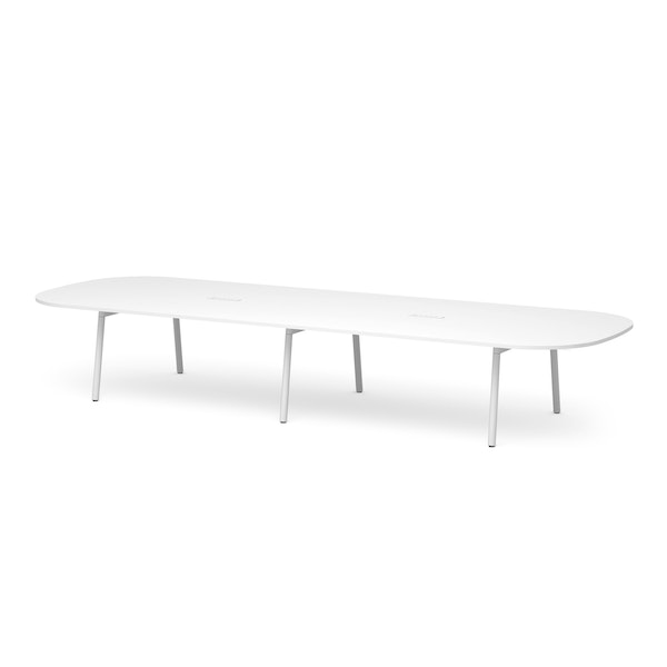 "Series A Scale Racetrack Conference Table, White, 180x60"", White Legs,White,hi-res"